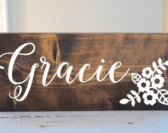 Baby girl name sign, girl nursery name sign, rustic nursery sign, wood little girl sign, cottage nursery sign