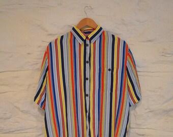 multicolored 90s striped button down