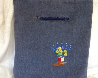 Texas Market Tote Bag Denim Blue Boot flowers embroidered washable denim heavy duty straps lined