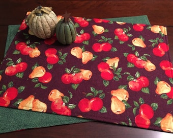 Fall Placemats - Set of 4 Placemats - Reversible Placemats - Fruit Placemats - Plum Placemats - Apple Placemats - Pear Placemats