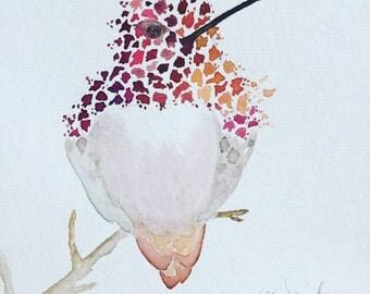 Hummingbird in Fall Original Watercolor Painting, Bird Art, Bird Wall Decor, Hummingbird Watercolor, Bird Painting, Feather Art, Nature