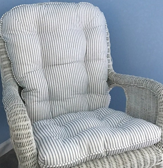 Rocking Chair Or Glider Cushions Set In Navy Amp White Ticking
