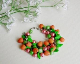 Bracelets Charm Bracelets Polymer clay jewelry Handmade Polymer clay bracelet  Fruit bracelet Gift