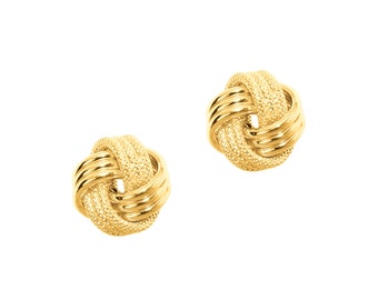 Textured Love Knot Studs in 14k Yellow, White, and Rose Gold