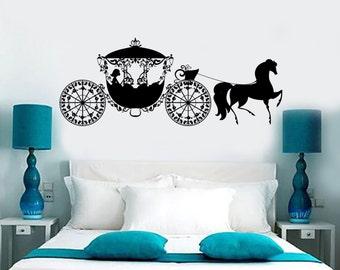 Wall Vinyl Decal Fairytale Fairy Carriage Fantasy Dream Princess Bedroom 1376dz