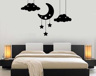 Wall Vinyl Decal Cloud Stars Moon Bedroom Romantic Decor For Nursery Mural Art 1479dz