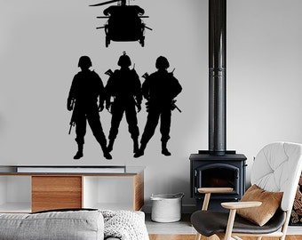 Wall Vinyl Army Soldier Helicopter Marine Guaranteed Quality Decal Mural Art 1665dz