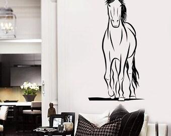 Wall Decal Animal Mustang Horse Ornament Tribal Mural Vinyl Decal  Mural Sticker 1718dz