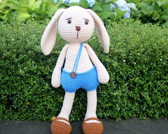 Handmade Crochet Rabbit, Blue Bunny, Plush Toy, Stuffed Animal