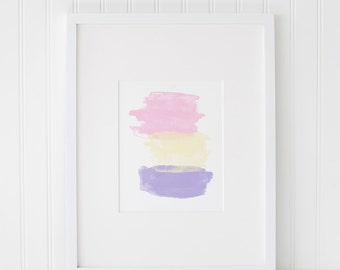 Abstract Watercolor Printable Art, Instant Download, Abstract Artwork, Watercolor, Pastel Print, Pink, Purple, Watercolor, Home Decor Art