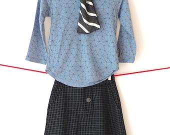 Long Sleeves T-Shirt, Toddlers Long Sleeves Shirt, Boys Tshirt, Kids Tshirt, Girls Tshirt, Blue Geometric Print T-Shirt - By PetitWild