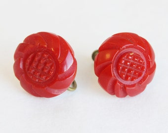 Cherry Red Carved Bakelite Earrings