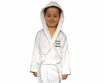 Children's Personalised Hood Dressing Gown Embroidered Bathrobes Birthday Gift