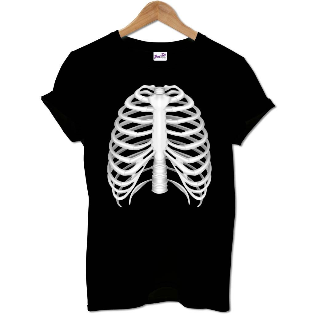 Halloween T Shirt Funny Skeleton Rib Cage Gift Idea Costume