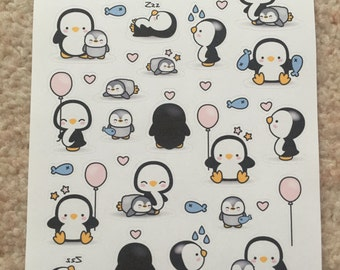 Set of 20+ Cute Penguin/Baby Penguin Stickers
