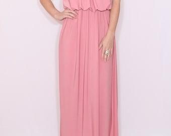 Light pink maxi dress Pink Bridesmaid dress Spaghetti strap dress