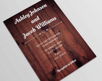 Rustikale Hochzeiteinladung Druckbare Woodland Hochzeit Einladung Karte  Vorlage Wald Hochzeit Einladungen Hölzerne Einladung Instant Download T44