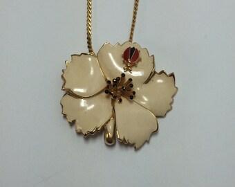 Vintage Gold Tone Necklace with White Enamel Flower and Ladybug 9212
