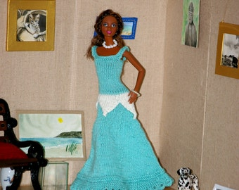 Long Dress blue and white for Barbie - knit made in France