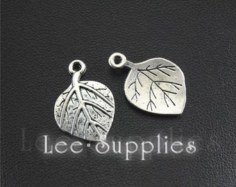 30pcs Antique Silver Leaf Charms Pendant A1498