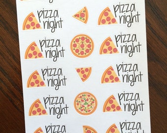 Pizza Night Planner Stickers - Pizza Stickers - Pizza Night Stickers - Cheat Meal Stickers - Dinner Stickers - Meal Planning Stickers