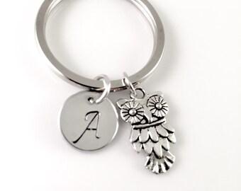 Owl keychain, owl charm, bird keychain, bird charm, personalized keychain, initial keychain, customized keychain, monogram