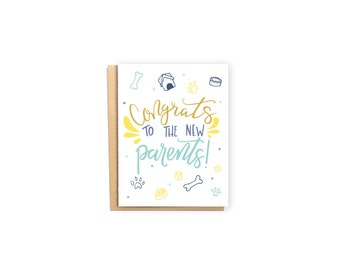 Congrats to the New Parents- New Dog Card, Funny Card, Dog Adoption Card, Foster Dog Card, Greeting Card, Congratulations Card