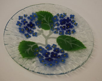 Art Glass Salad Plate with a blue hydrangia design