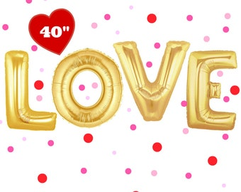 "LOVE Balloons 40"" Gold. Gold love balloons. Jumbo love balloons. Wedding decor. Bridal shower decor. Engagement party. Anniversary party"