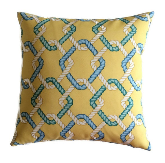 Nautical Coastal Throw Pillows : Coastal Pillows Blue Aqua Green Yellow Indoor Outdoor Throw