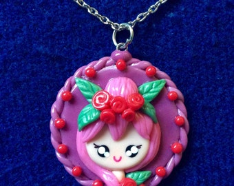 Kawaii Girl  Polymer Clay Necklace - Kawaii Necklace