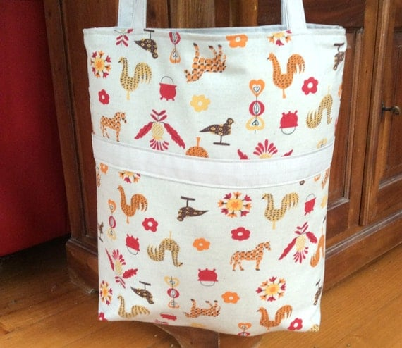 Taupe & Farm Animals, Fully Reversible Library Bag,Tote, Beach, Shopping Bag, 39cmx37cm