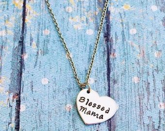 Blessed Mama Necklace - Gift for Mom - Gift for New Mom - Mom Necklace - Mom Gift - Mama Necklace - Blessed Mommy - Blessed Mama