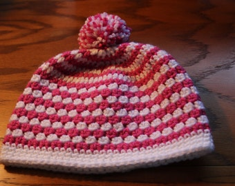 White and Pink Hat, Crochet Kids Hat, Crochet Kids Photo Prop, Hat For Girls, Striped Hat.Girls