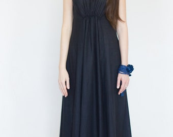 Blue long dress, Maxi linen dress, Custom made, Long linen dress,