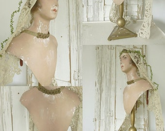 Stunning FRENCH Shabby Mannequin Bust Display with stand...CHARMANT!