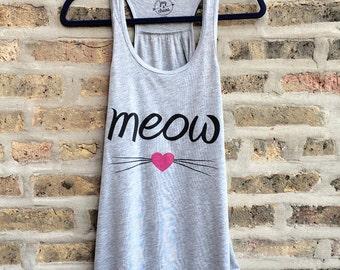 Cat Shirt, Cat Tank Top, Kitty Shirt, Meow Tank Top, Cute Cat Tank Top, Womens Tank Top, Funny Workout Tank Top