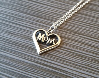 Silver Mom Necklace - Mom Heart Necklace - Personalized Necklace - Custom Gift - Initial Necklace - Mother Gift - Mothers Day Necklace