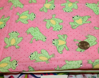 1/2 Yard Fabric - Cute Green Frogs on Pink- Cotton