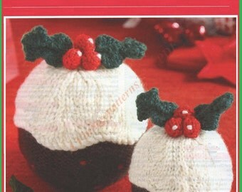 Christmas Puddings Knitting Pattern  DK 8.5cm And 11.5cm  -  PDF Download