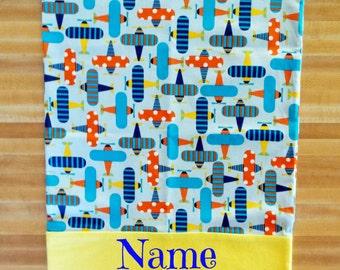 Airplane Pillowcase, Novelty Pillowcase, Airplane Pillowcase, Embroidered, Monogrammed, Personalized, Travel Pillowcase, Toddler Pillowcase