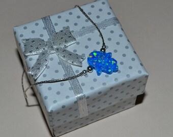 OPAL HAMSA BRACELET // Opal Hand Bracelet Silver - Opal Bracelet - Hand Of Fatima Bracelet - Hamsa Charm Bracelet - Protection Bracelet