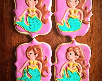 One Dozen - Mermaid Cookies - Under the Sea Party Theme - Little Mermaid - Girl Birthday