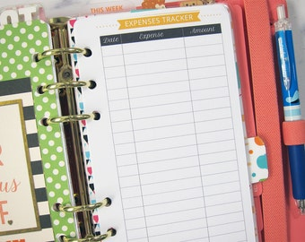 Printable Expenses Tracker, Budget Planner, Money Tracker, Filofax Budget Planner, Bill Tracker,Kikki K Personal Inserts, A6 Planner Inserts