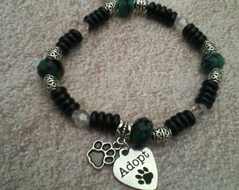 Animal Adoption Pet Adoption Animal Rescue Pet Rescue Marbled Green and Black Bead Stretchable Bracelet