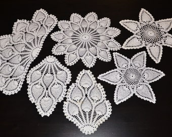 Vintage Lot of 6 Ecru (Off White) Hand Crocheted Doilies,  Vintage Linen