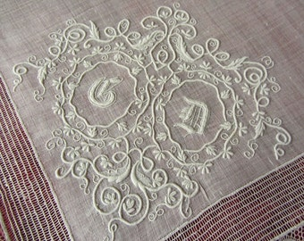 Embroidered batiste lace Monogram 10536 wedding handkerchief