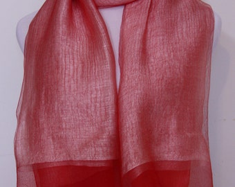 Salmon, Hand Dyed Scarf, Organza Scarf, Silk Scarf, Woman's Scarf, Mother's Day Gifts