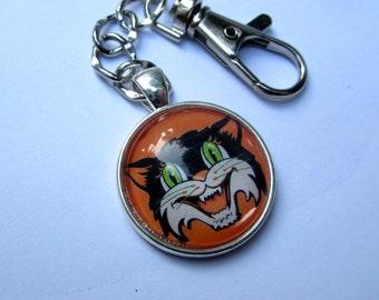 Halloween kitty cameo keychain