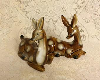Vintage ceramic deer pair